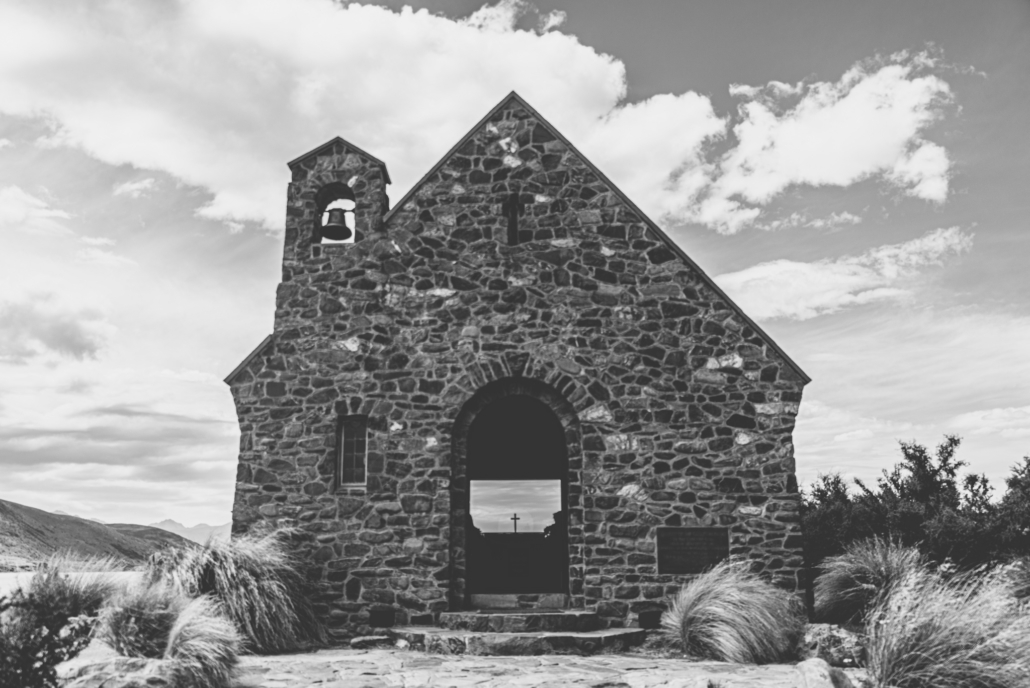 Lake Tekapo Church Black and White