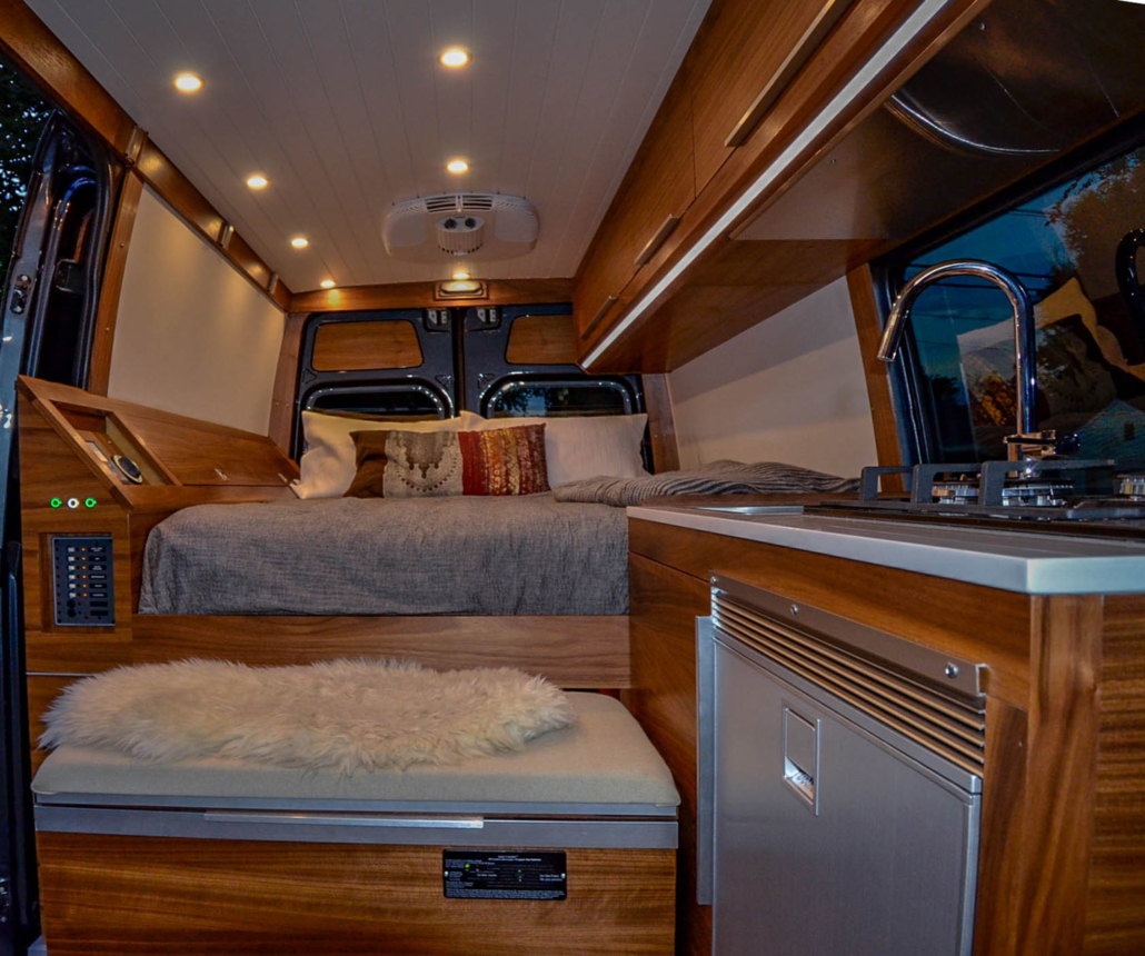 Bedding inside Van Conversion
