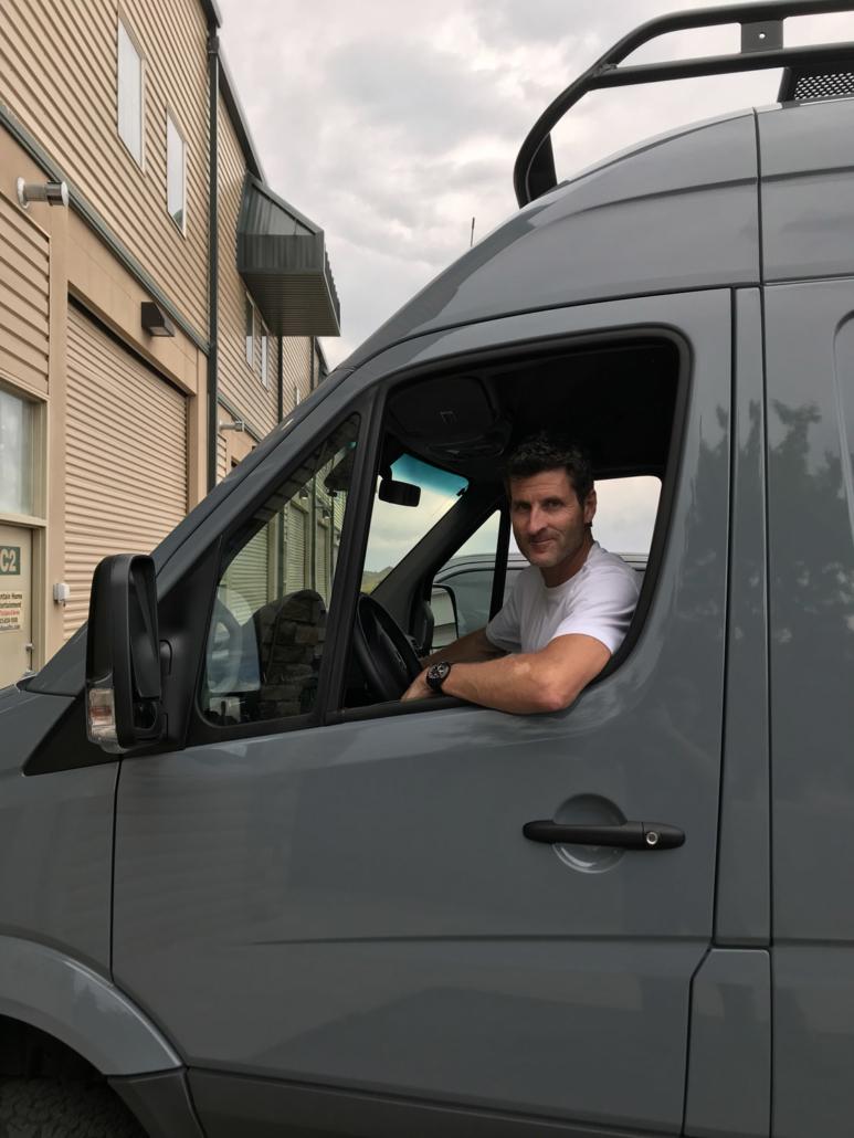 Man inside Van Conversion