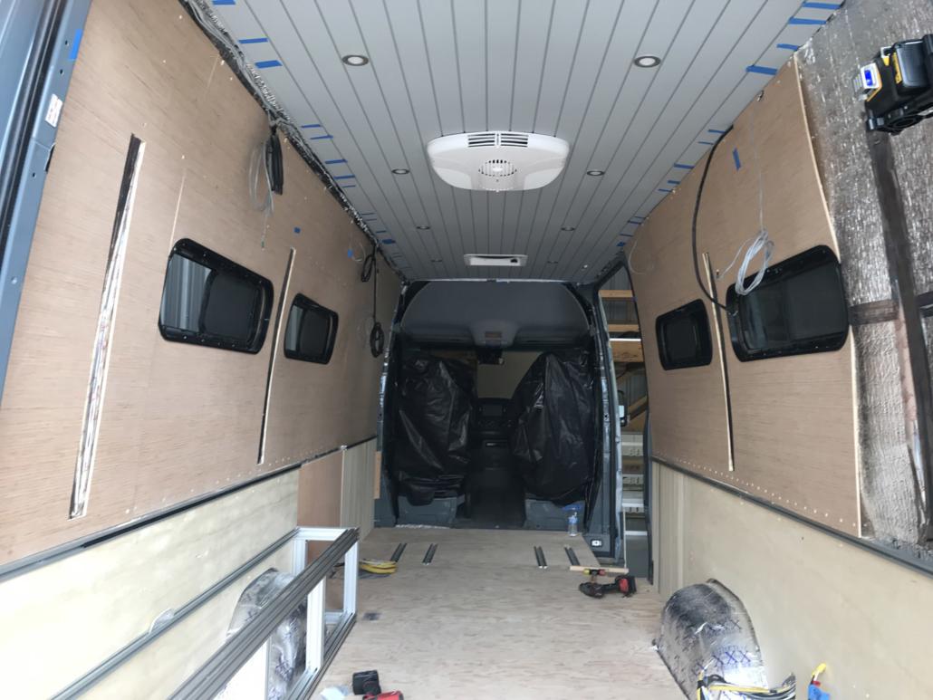 Interior Van Conversion Progress