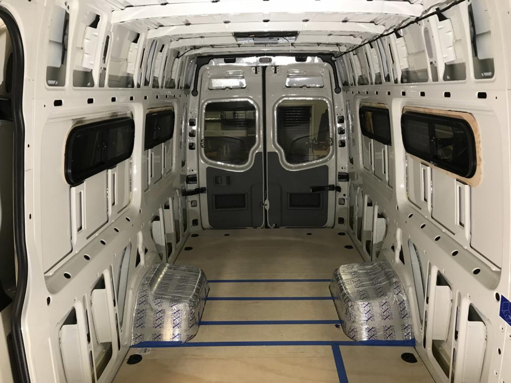 Unfinished Interior of White Colorado Adventure Van