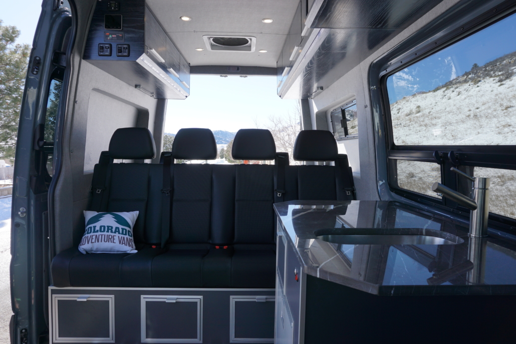 Bench on the Interior of Van Conversion