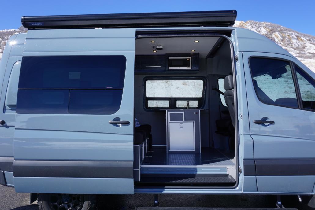 Open Doors to Blue Van Conversion