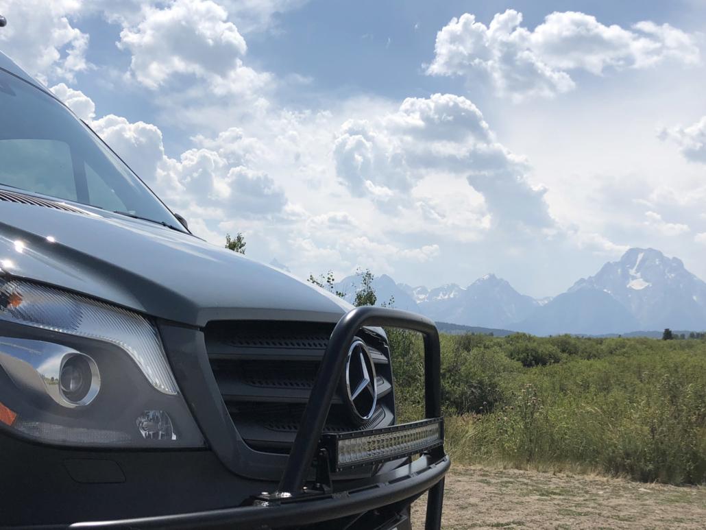 Mercedes Sprinter Van with Clouds